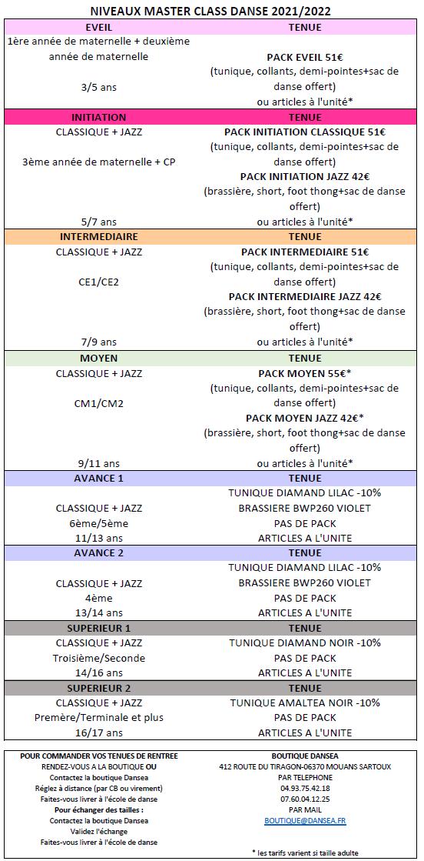 Tenues de danse MasterClassDanse